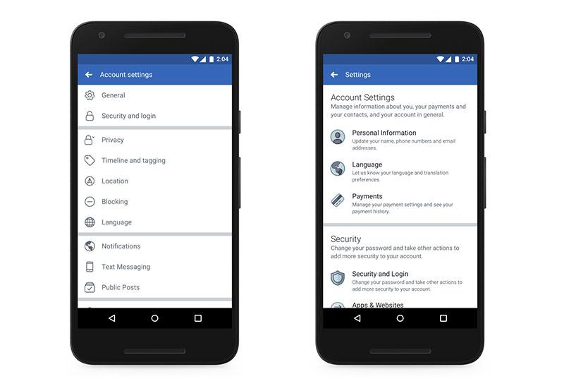 Impostazioni di Facebook: vecchia e nuova versione
