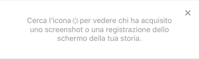 icona avverte dello screenshot su instagram