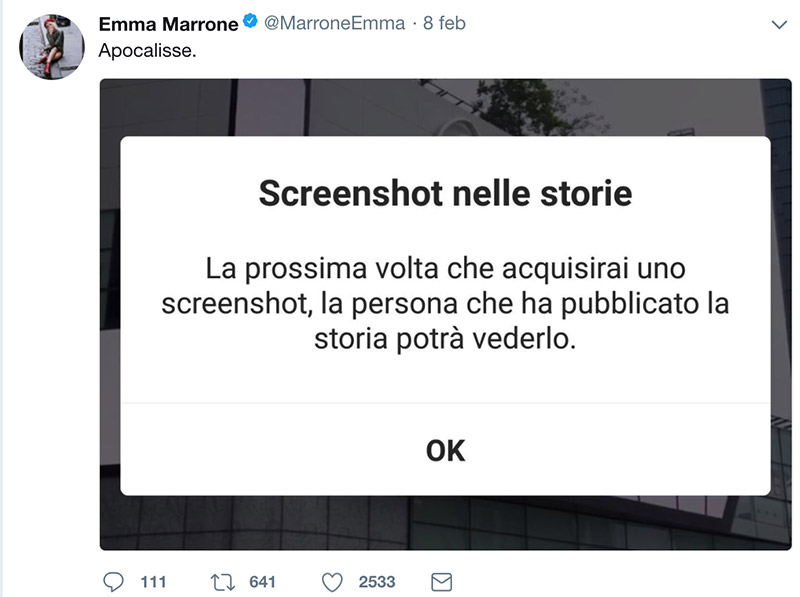 Emma Marrone su Twitter presenta le notifiche per gli screenshot su instagram