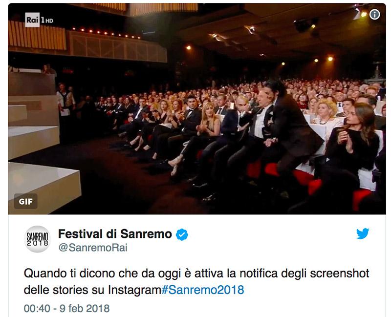 Screenshot su Instagram: anche l'account del Festival di Sanremo è 'sconvolto'