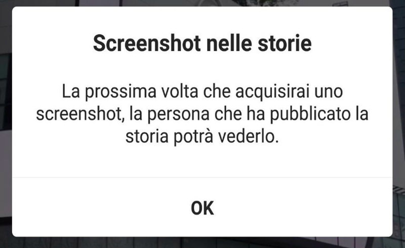 Screenshot su instagram: arriva la notifica