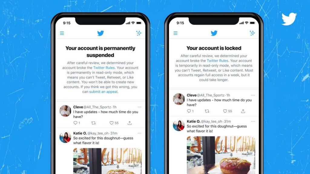 Twitter: le nuove notifiche per account sospesi
